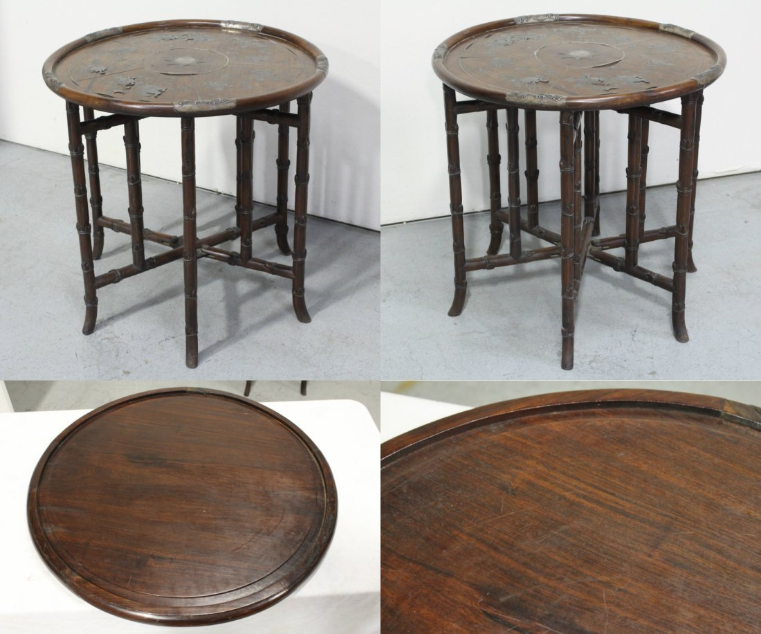 Chinese 19th c. rosewood table decorated w/ silver - 2