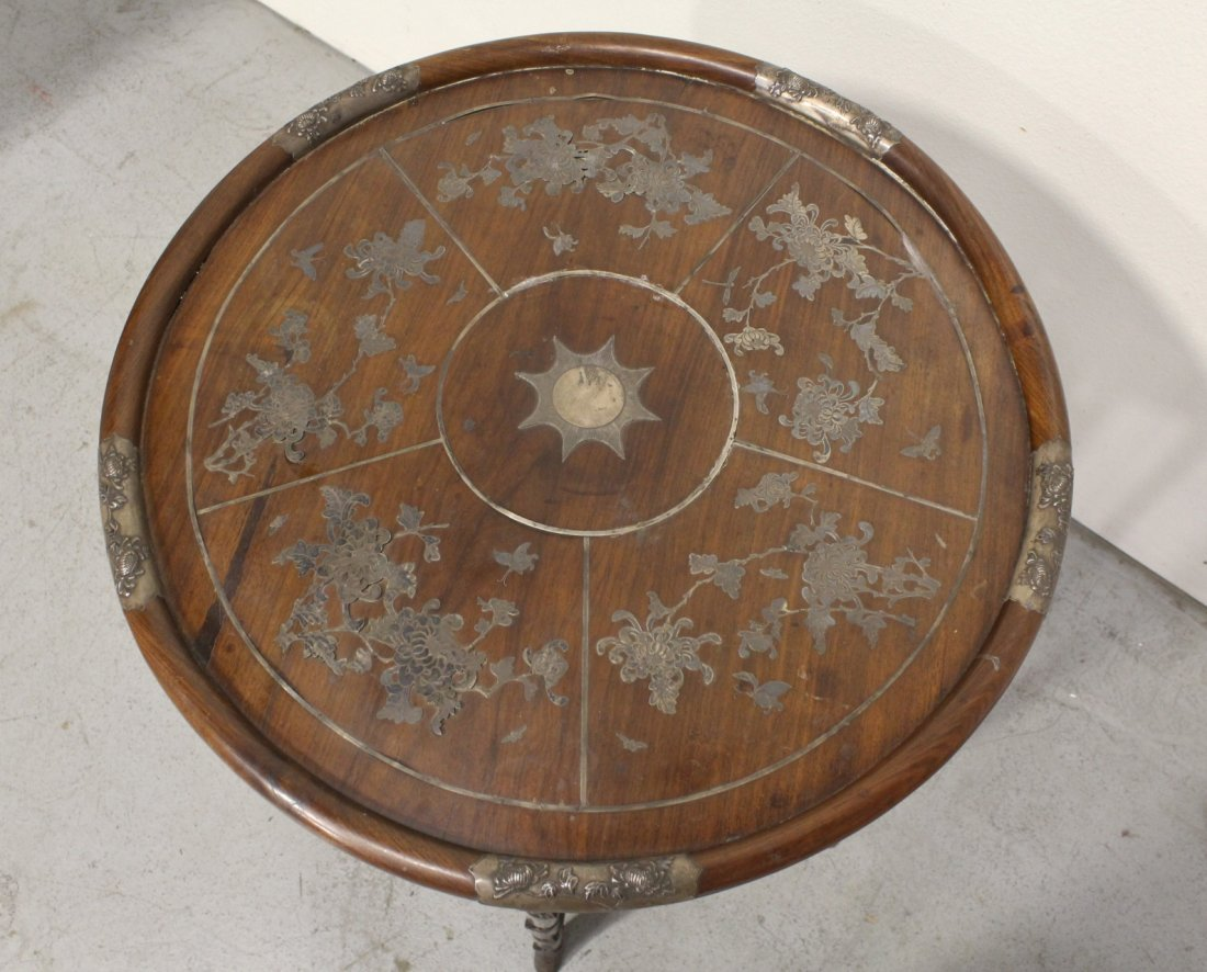 Chinese 19th c. rosewood table decorated w/ silver - 3