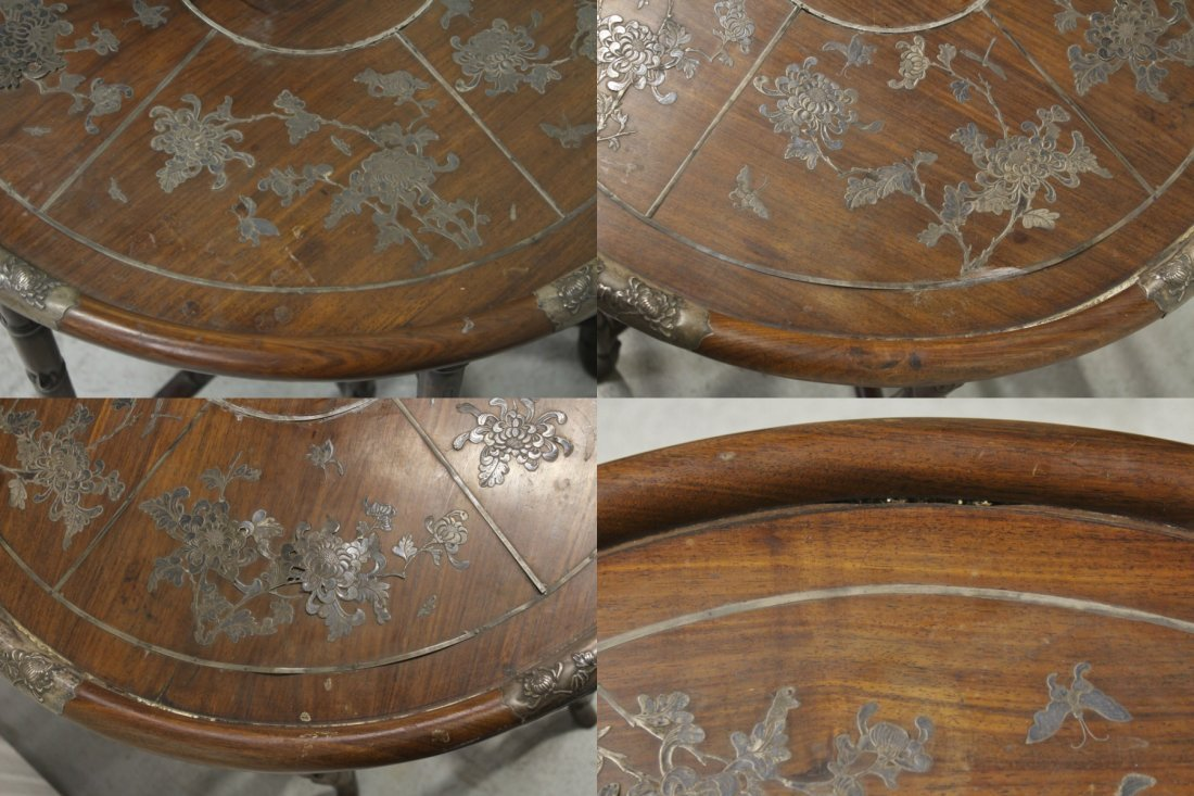 Chinese 19th c. rosewood table decorated w/ silver - 4