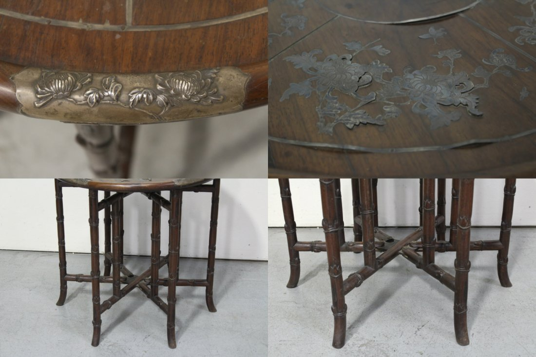 Chinese 19th c. rosewood table decorated w/ silver - 5