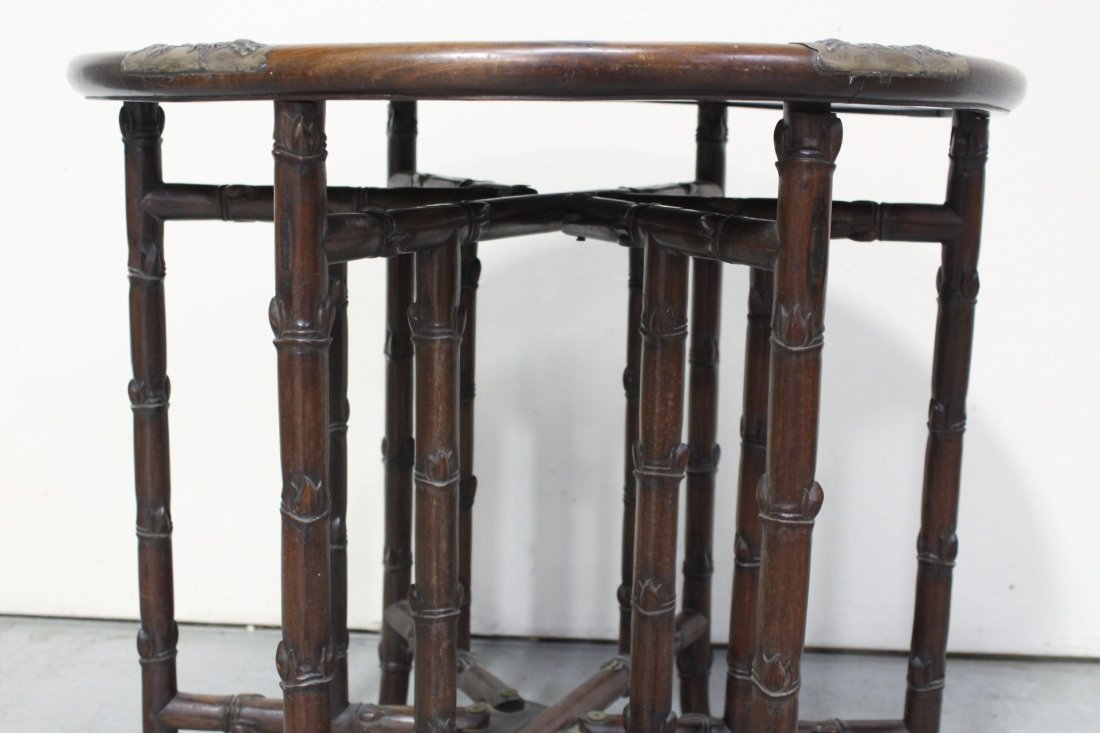 Chinese 19th c. rosewood table decorated w/ silver - 6