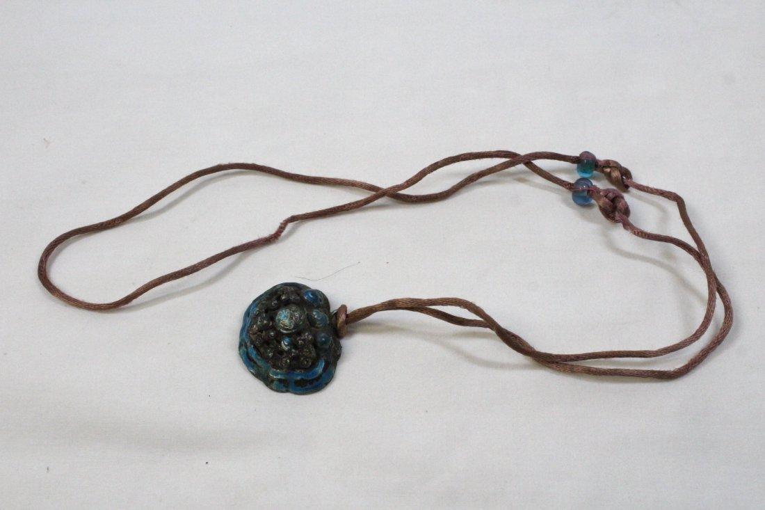 A nut bead necklace, & a Tibetan enamel silver pc - 3