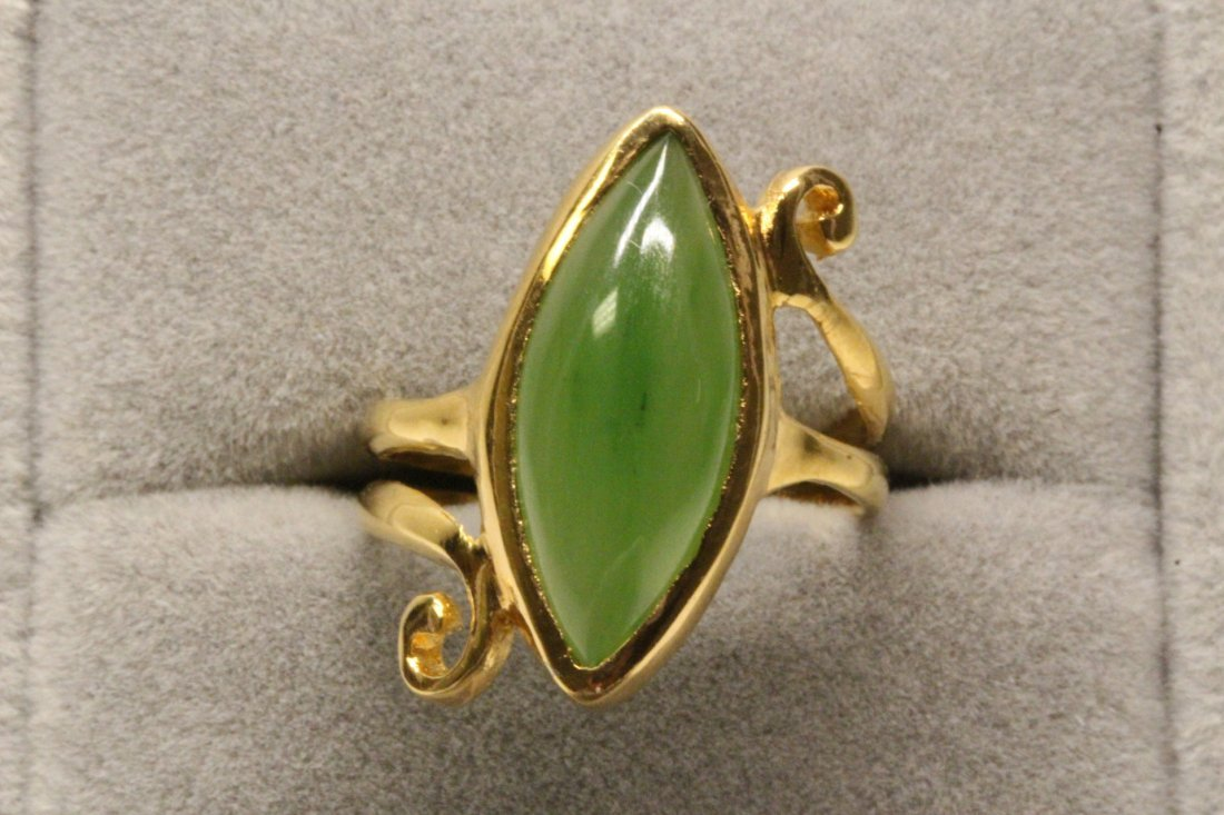 14K Y/G twist design jadeite ring