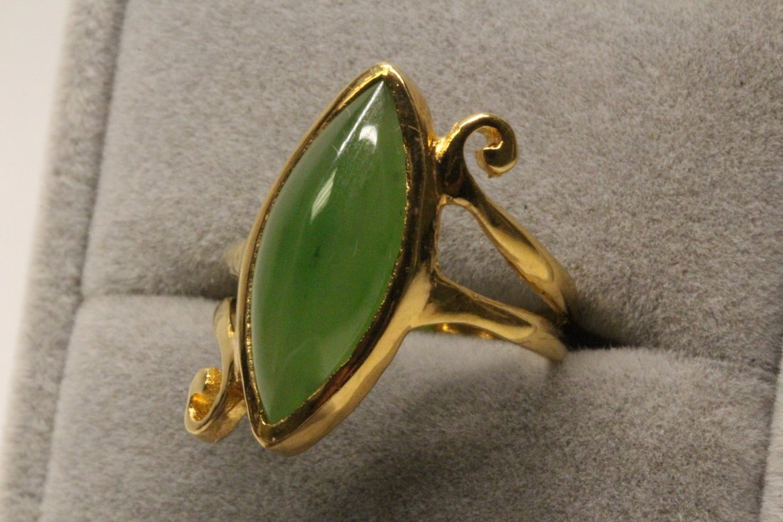 14K Y/G twist design jadeite ring - 2