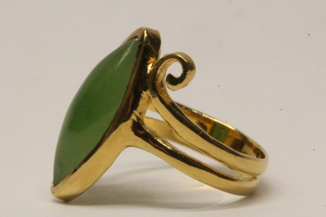 14K Y/G twist design jadeite ring - 5
