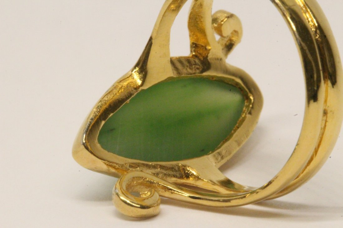 14K Y/G twist design jadeite ring - 6