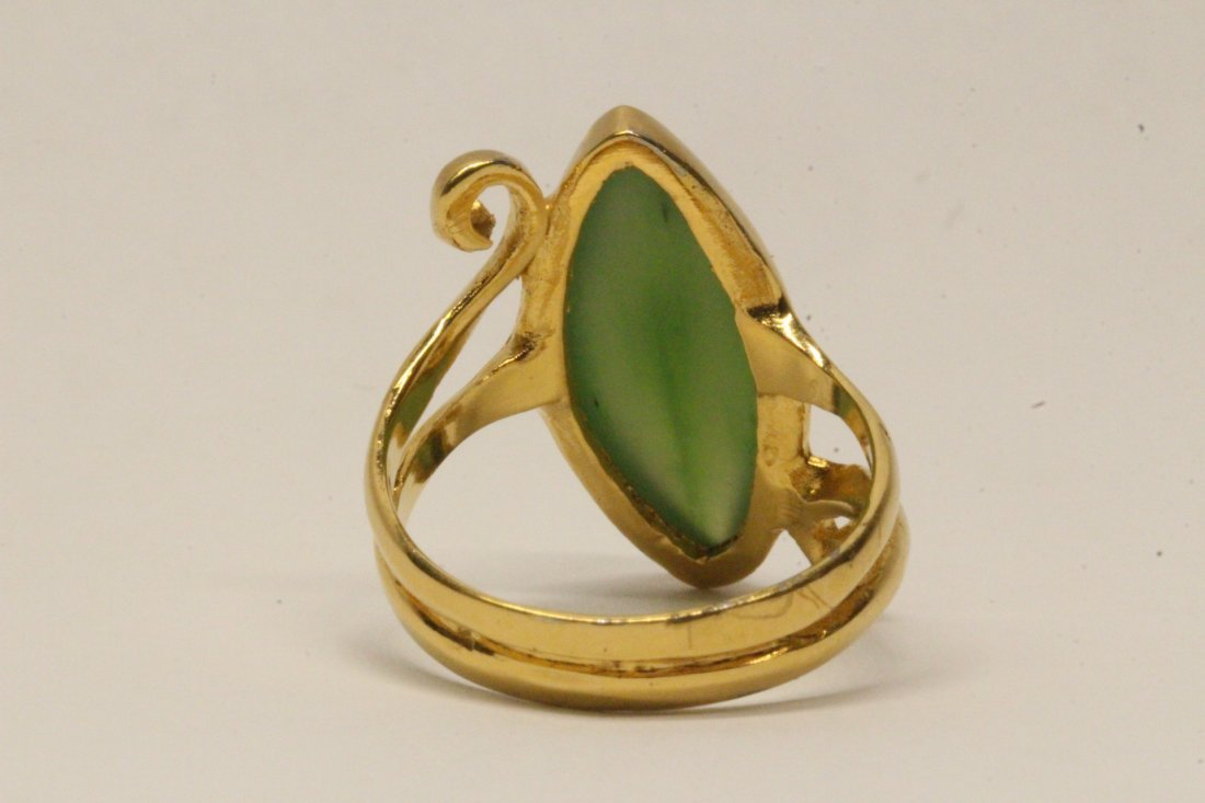 14K Y/G twist design jadeite ring - 7