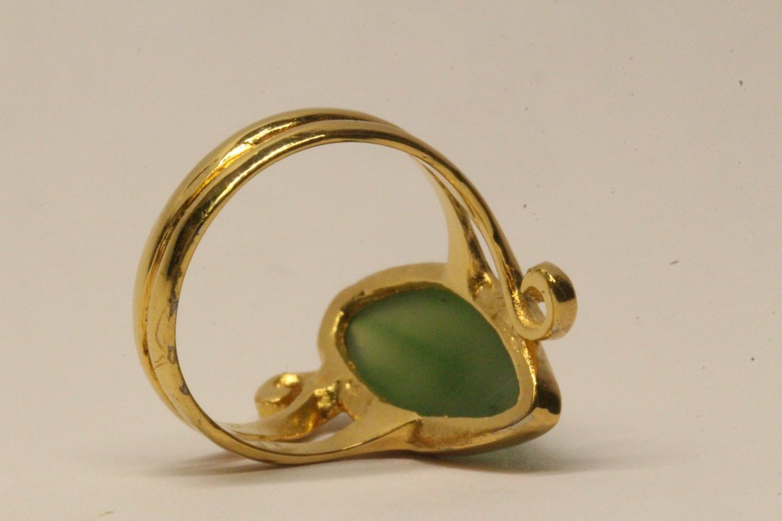14K Y/G twist design jadeite ring - 8