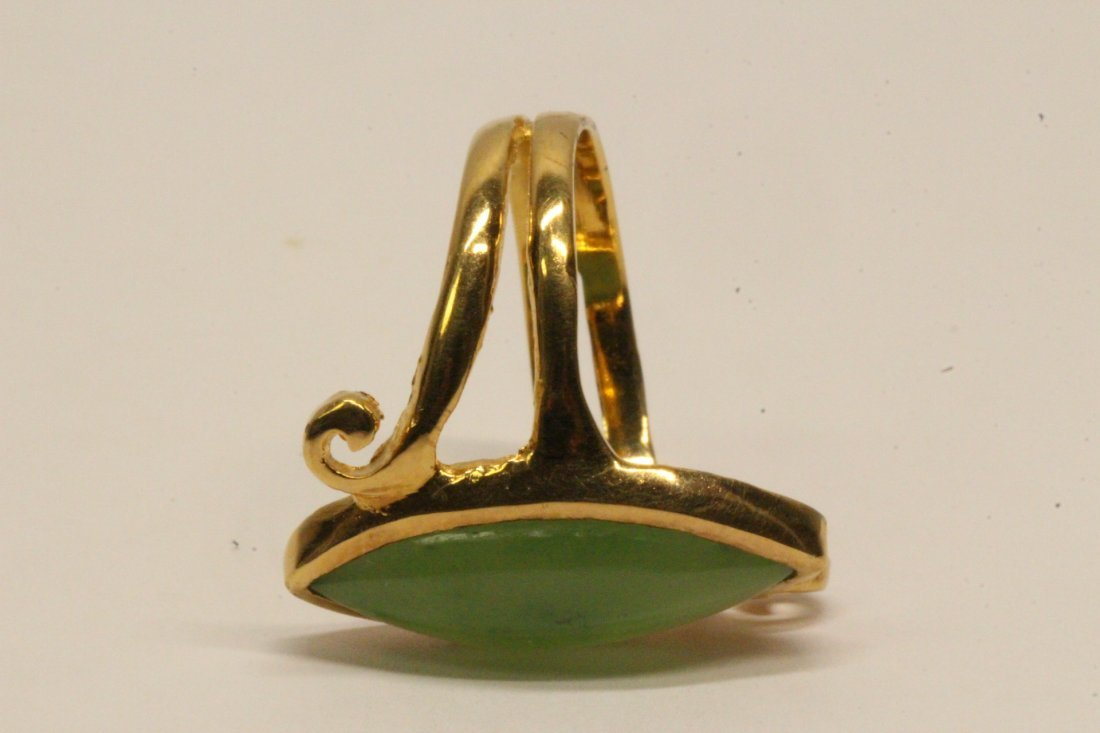 14K Y/G twist design jadeite ring - 9