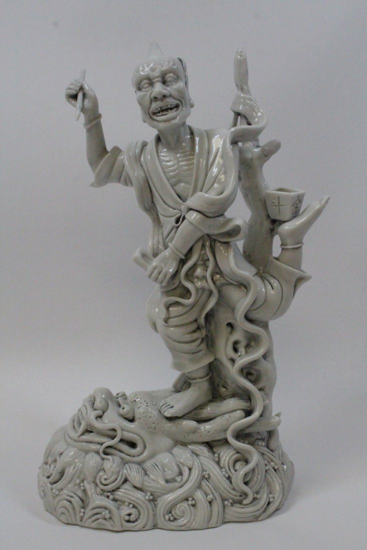 Chinese white porcelain sculpture of Lohan