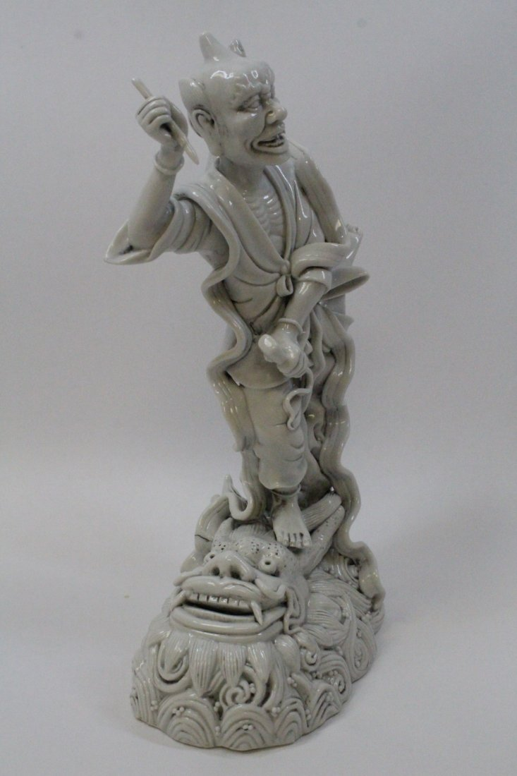 Chinese white porcelain sculpture of Lohan - 2