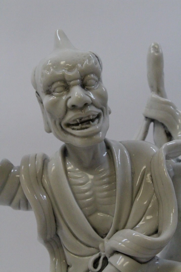 Chinese white porcelain sculpture of Lohan - 8