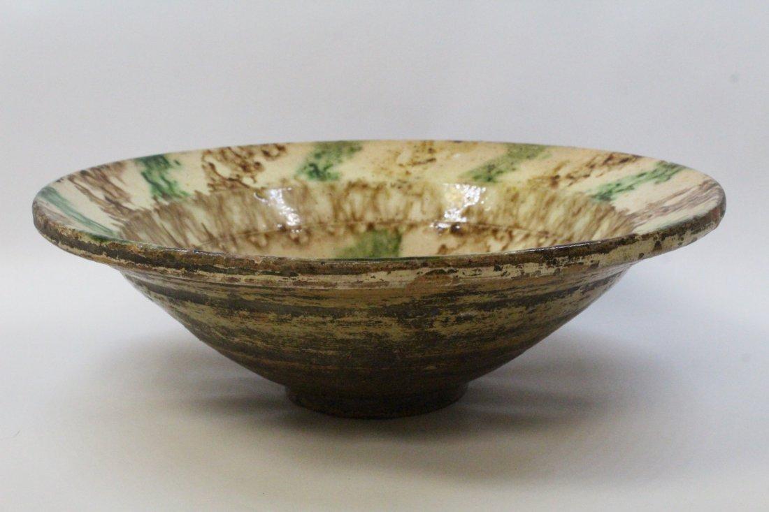 Chinese antique sancai pottery bowl