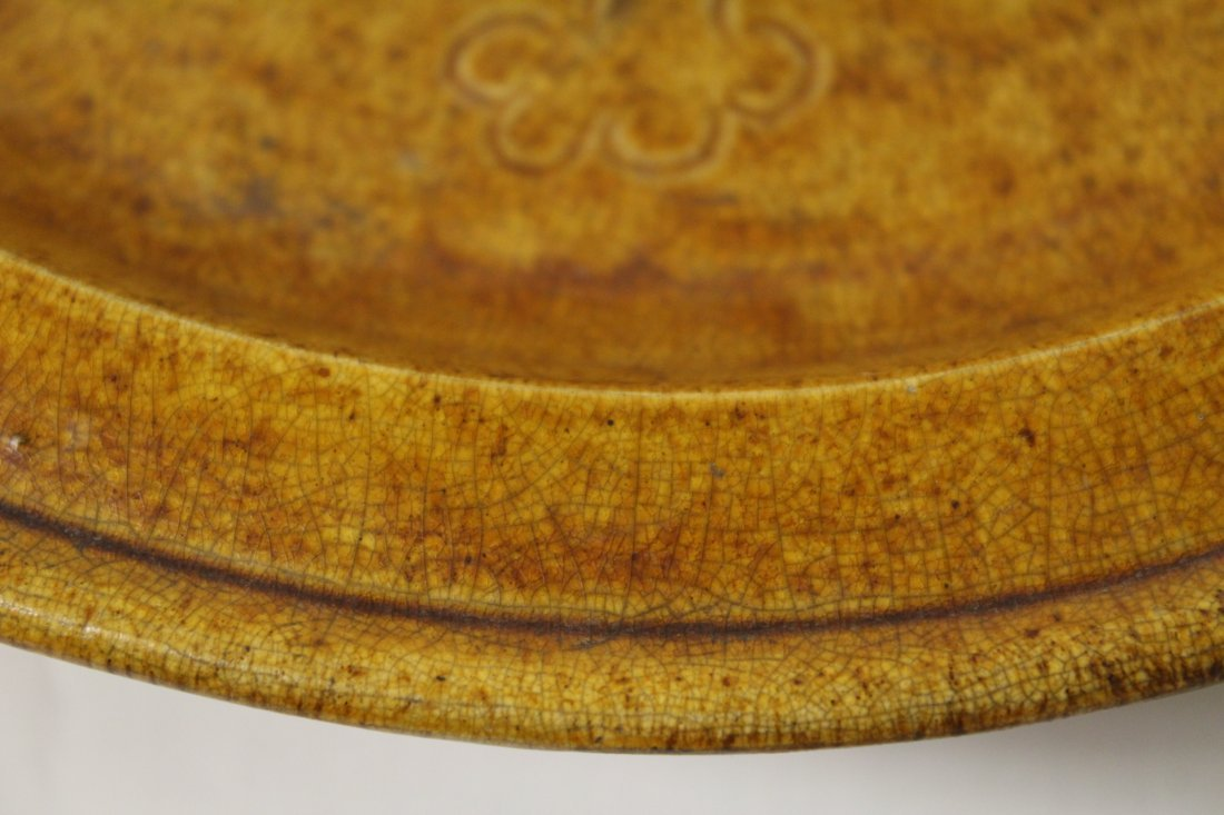 Rare yellow glazed footed bowl - 10