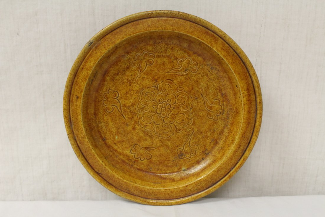 Rare yellow glazed footed bowl - 3