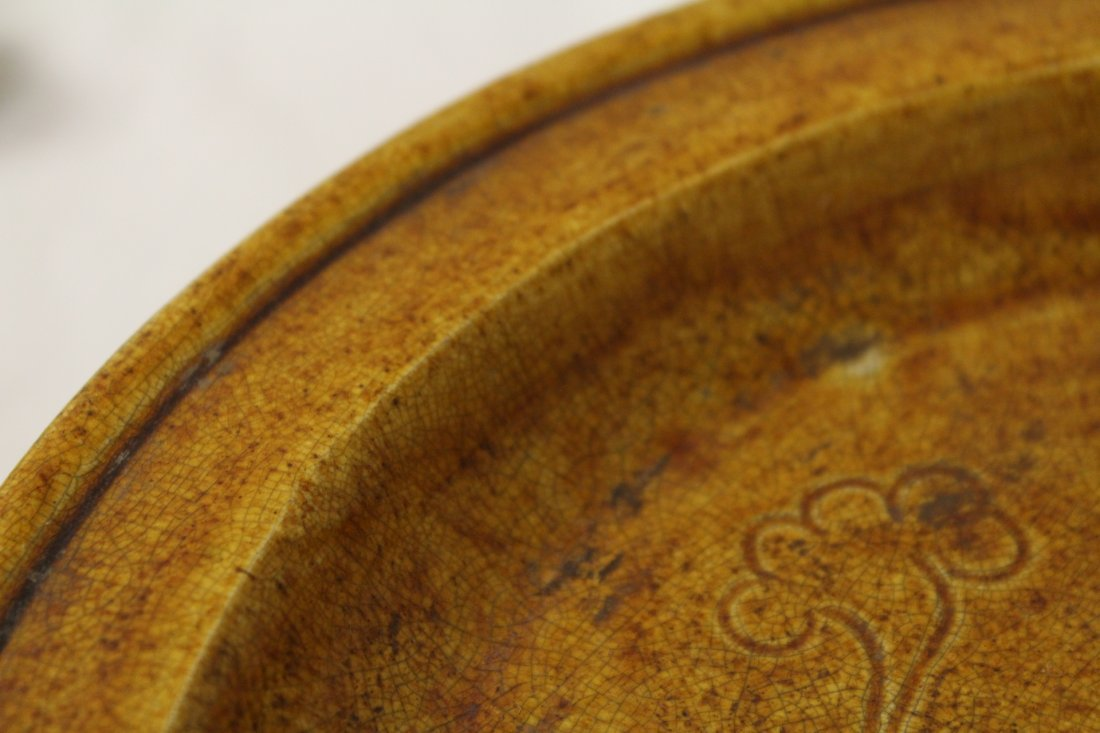 Rare yellow glazed footed bowl - 9