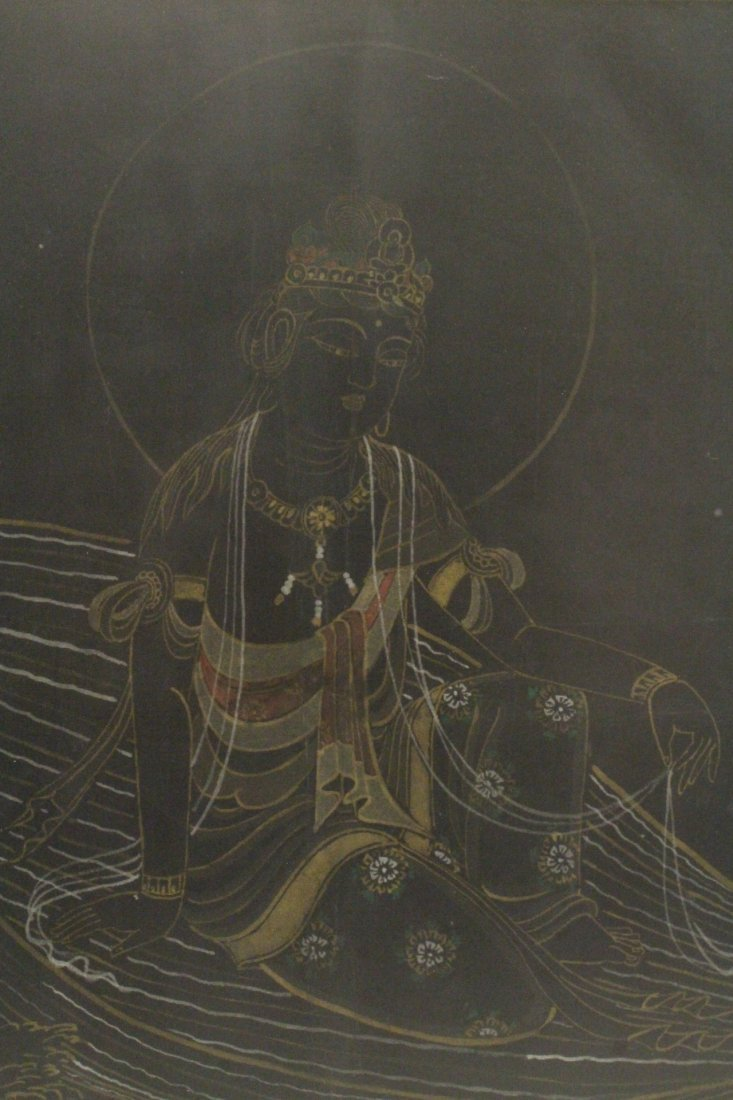signed Chinese antique Buddhism painting - 4