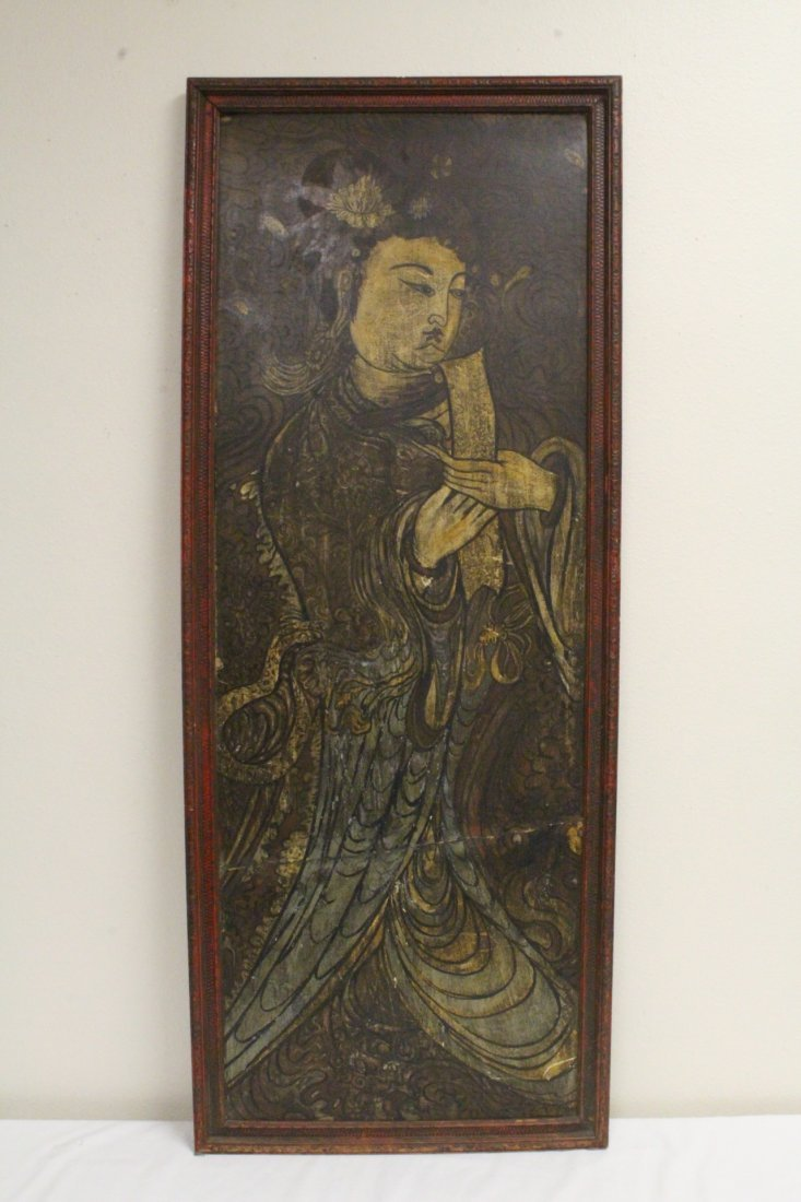 Chinese antique painting on wood panel