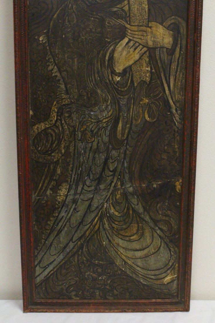 Chinese antique painting on wood panel - 3