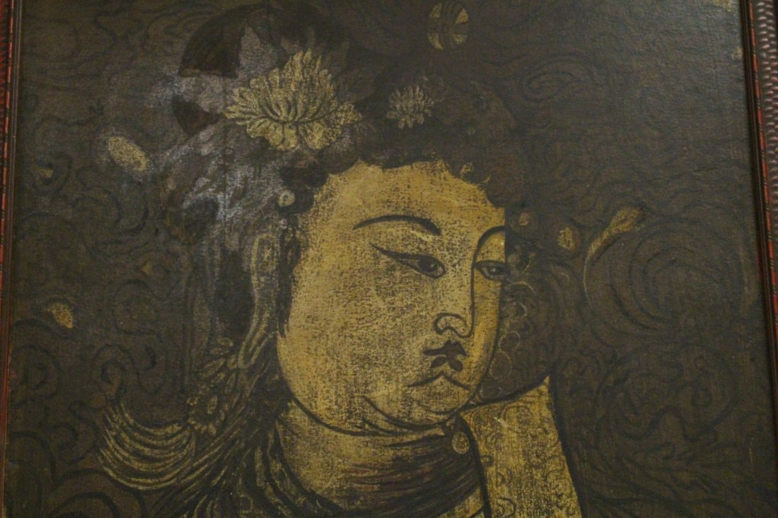 Chinese antique painting on wood panel - 5