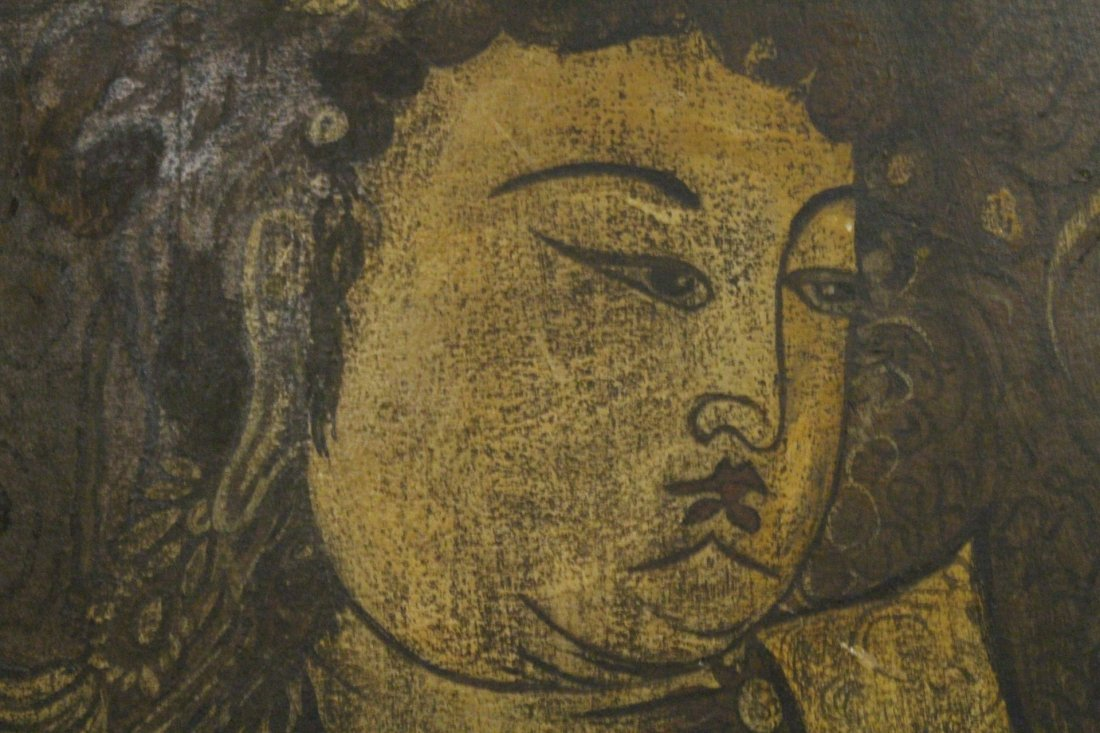 Chinese antique painting on wood panel - 6