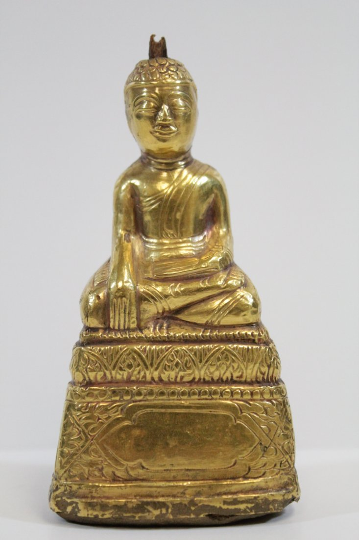 Chinese antique wood Buddha w/ pure gold  layer