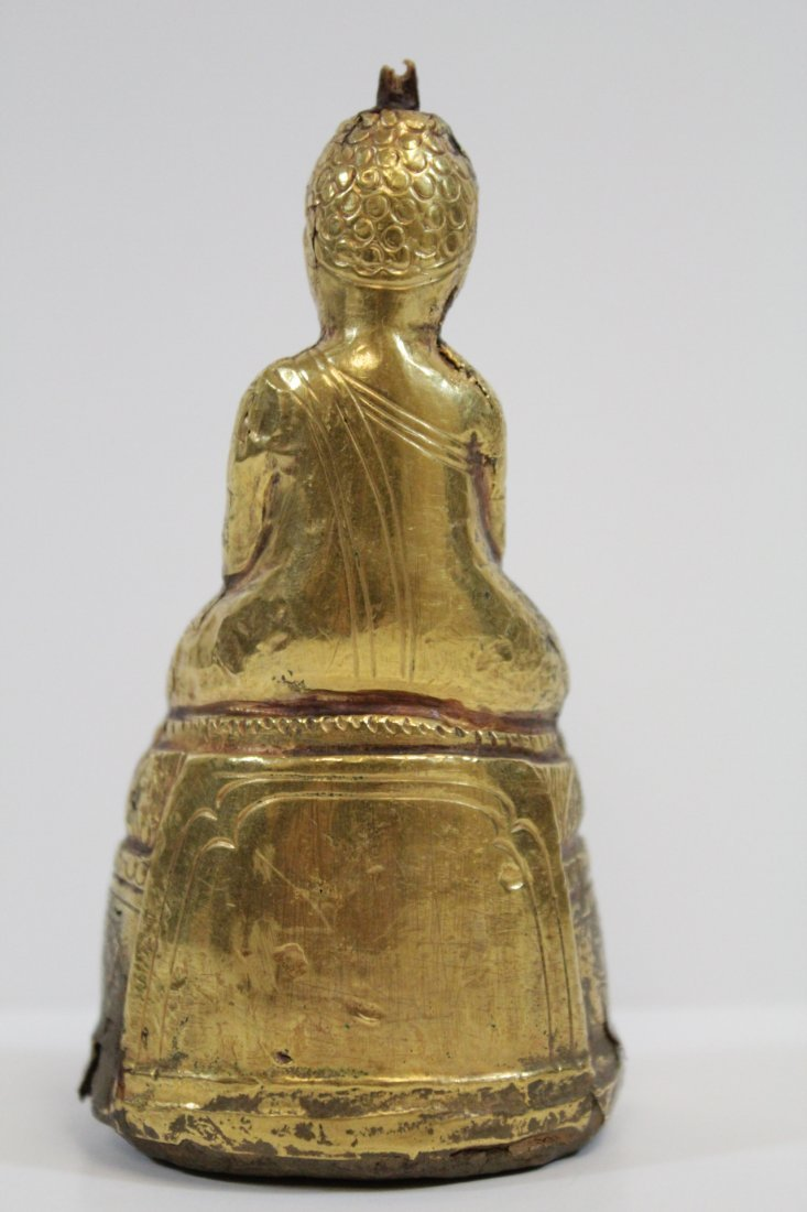 Chinese antique wood Buddha w/ pure gold  layer - 3