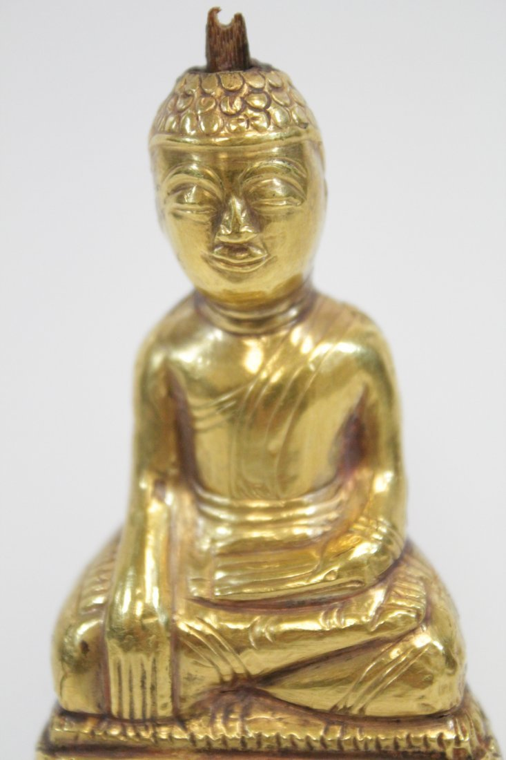 Chinese antique wood Buddha w/ pure gold  layer - 5