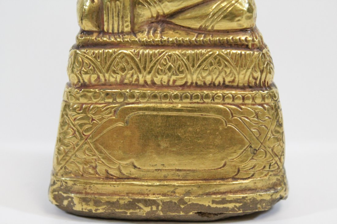 Chinese antique wood Buddha w/ pure gold  layer - 6