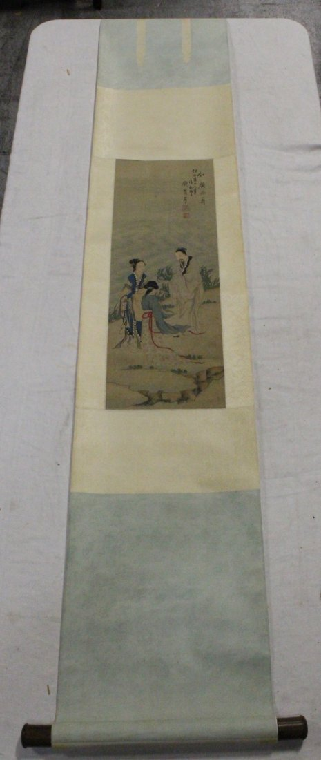 Chinese w/c on silk laid on paper signed Qian Hui An - 2