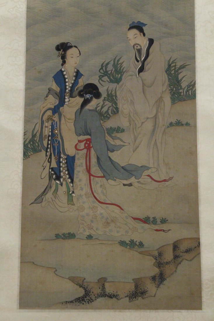 Chinese w/c on silk laid on paper signed Qian Hui An - 3