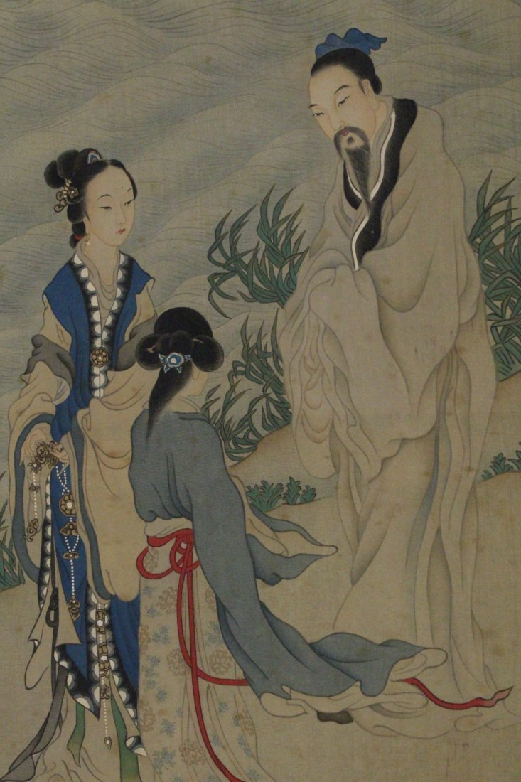 Chinese w/c on silk laid on paper signed Qian Hui An - 5