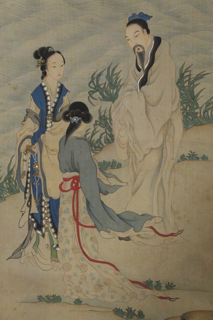 Chinese w/c on silk laid on paper signed Qian Hui An - 7