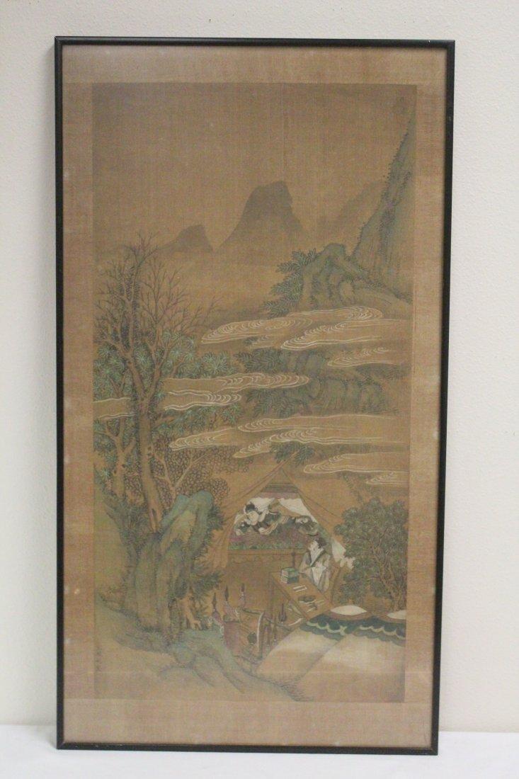 Chinese framed w/c on silk, signed Wen Zheng Ming