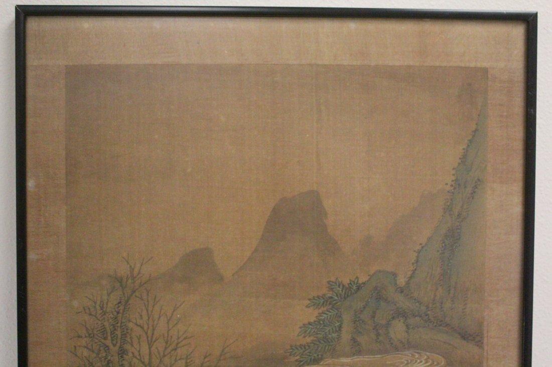 Chinese framed w/c on silk, signed Wen Zheng Ming - 2