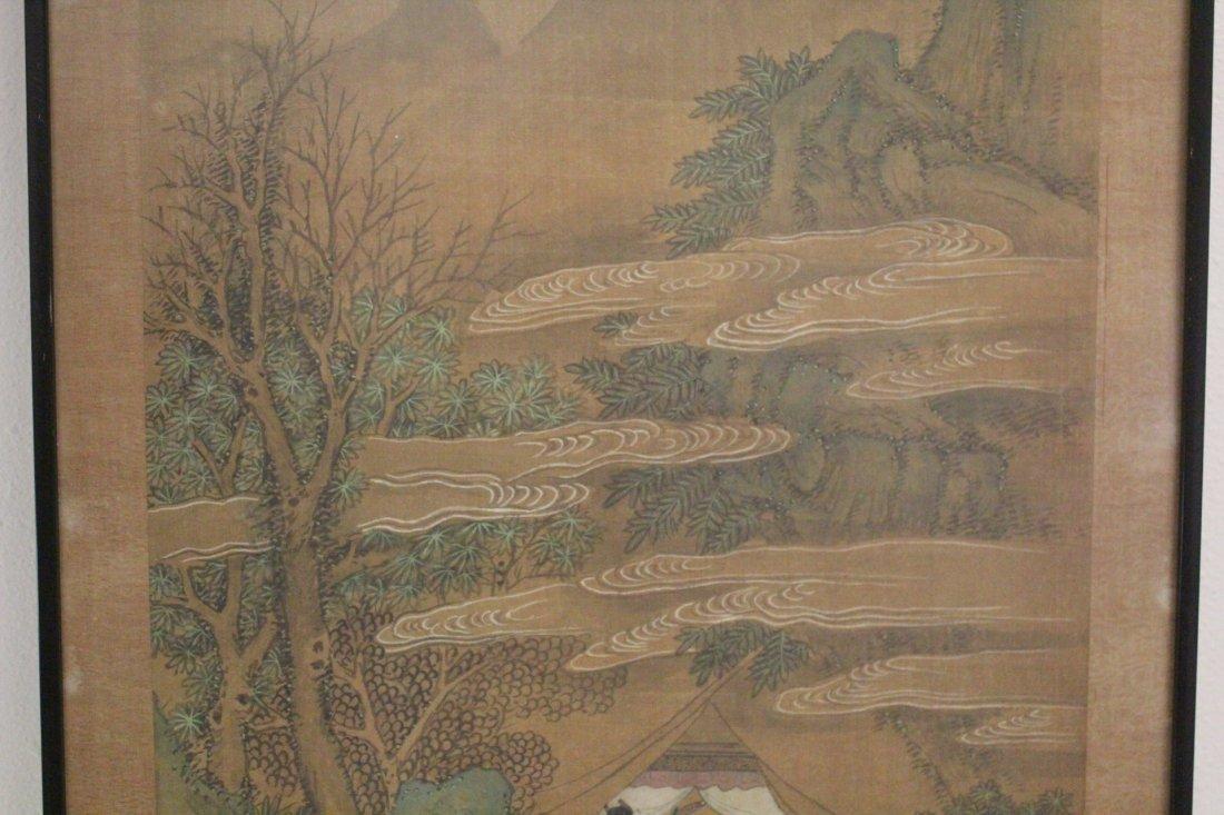 Chinese framed w/c on silk, signed Wen Zheng Ming - 3