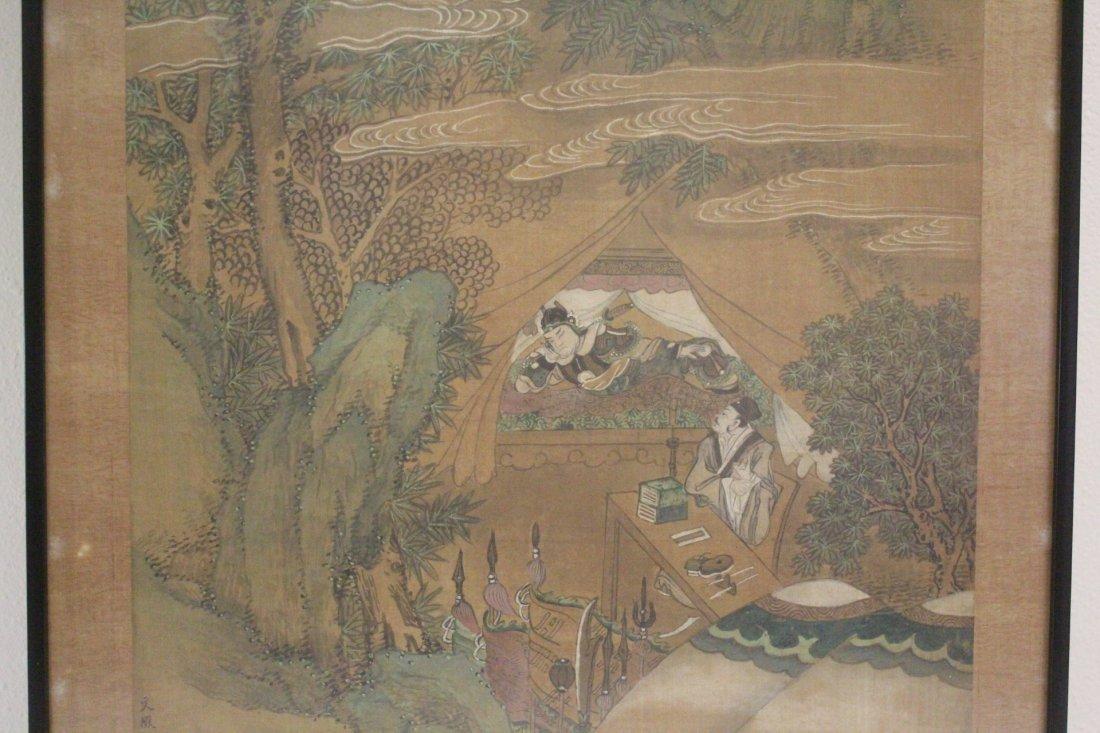 Chinese framed w/c on silk, signed Wen Zheng Ming - 4
