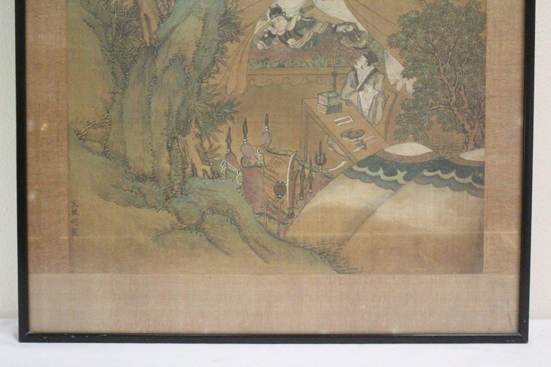 Chinese framed w/c on silk, signed Wen Zheng Ming - 5