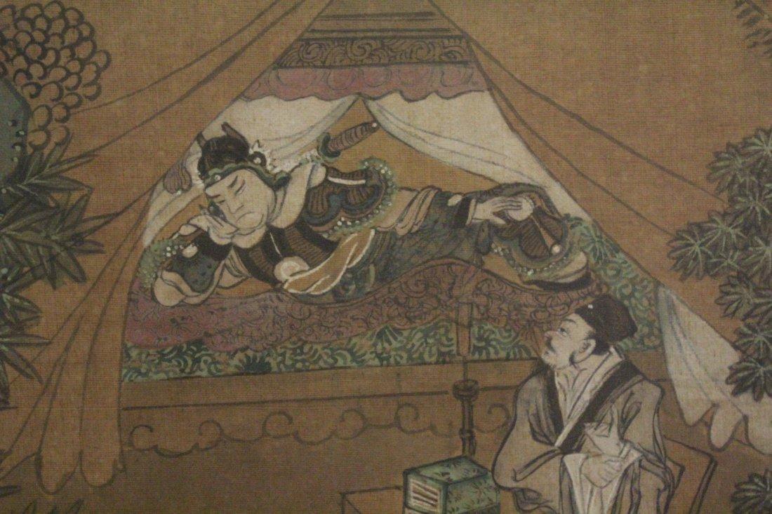 Chinese framed w/c on silk, signed Wen Zheng Ming - 7