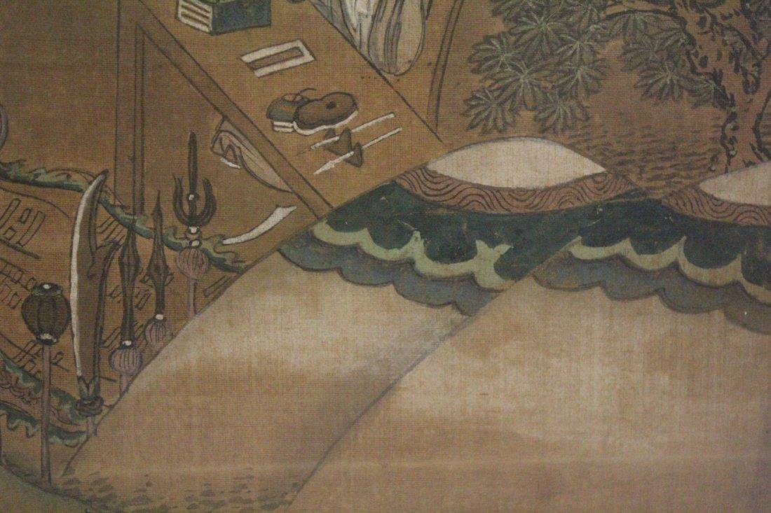 Chinese framed w/c on silk, signed Wen Zheng Ming - 8