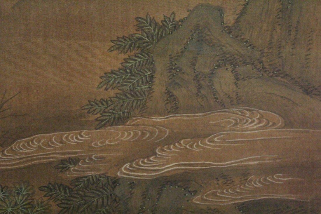 Chinese framed w/c on silk, signed Wen Zheng Ming - 9