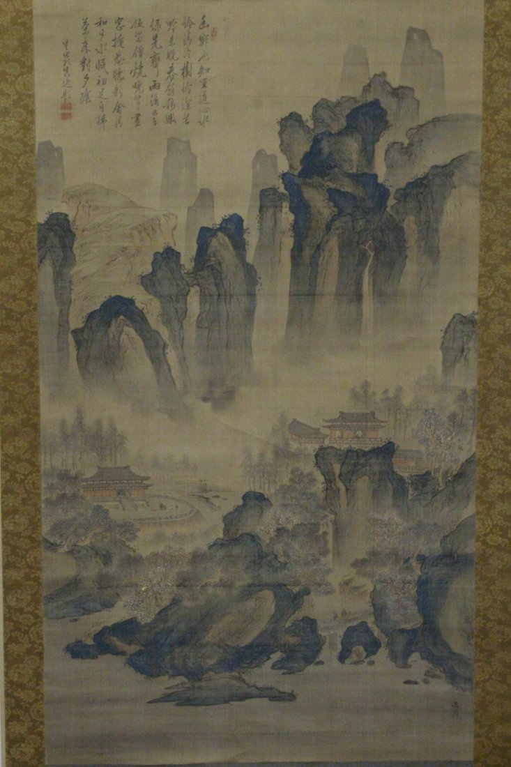 lg Chinese w/c on silk scroll, singed & many seals