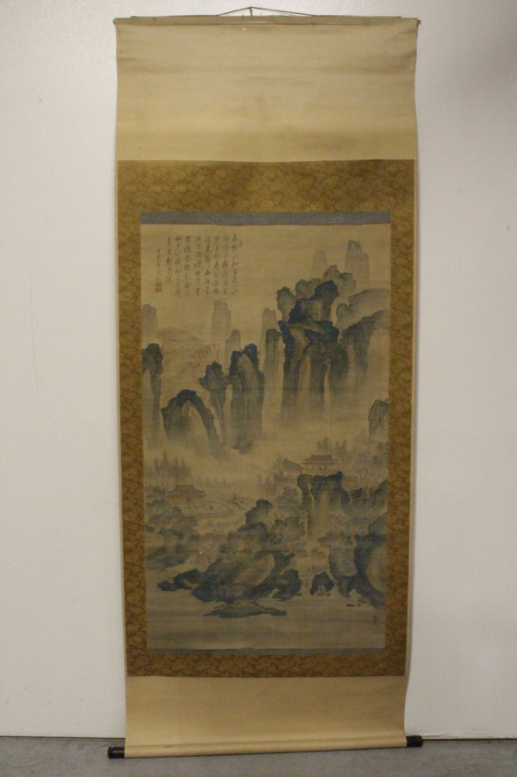 lg Chinese w/c on silk scroll, singed & many seals - 2
