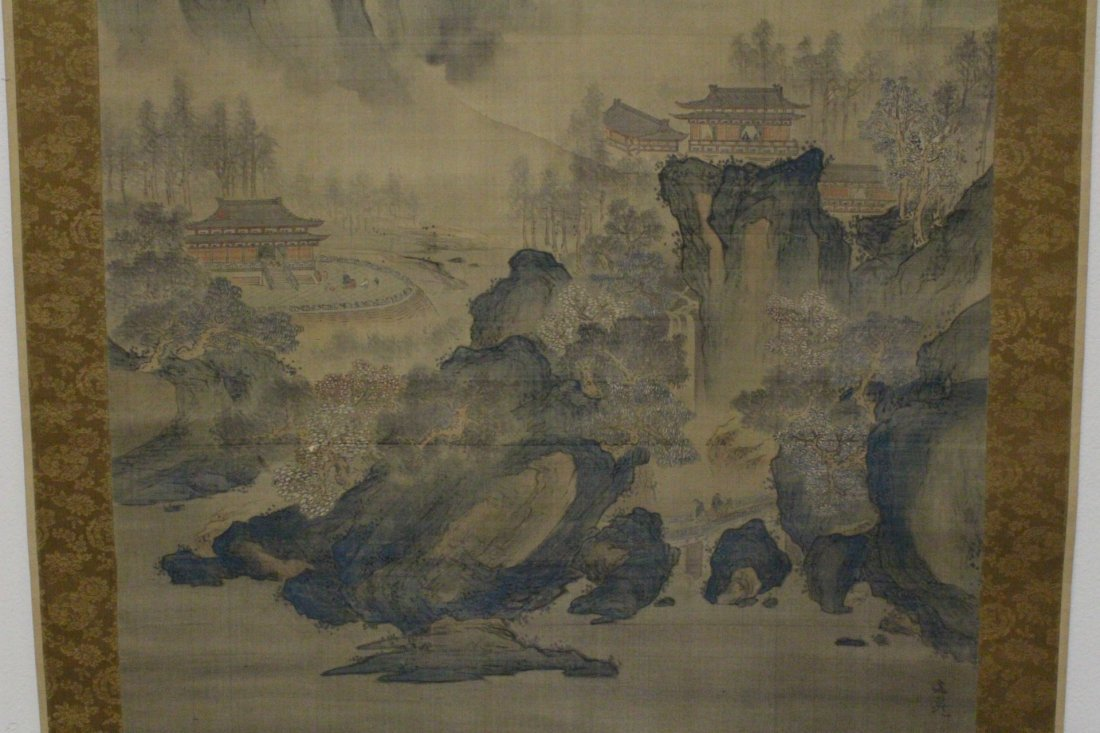 lg Chinese w/c on silk scroll, singed & many seals - 4