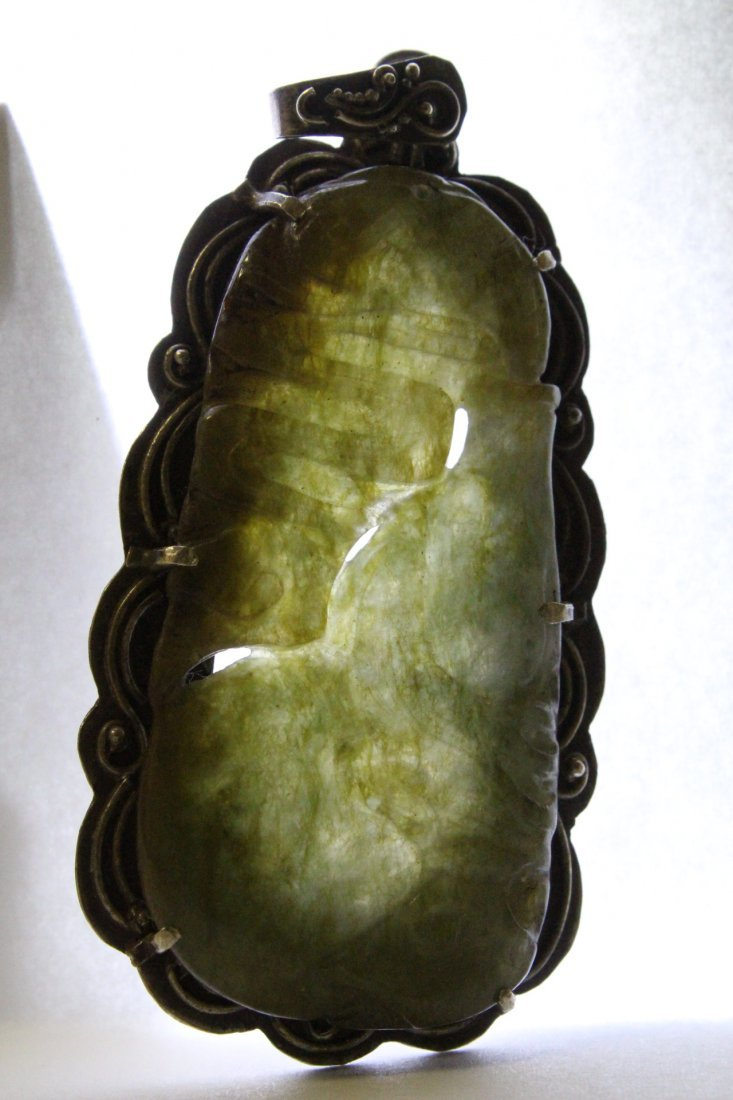 Chinese antique jade carving w/ sterling back & clasp - 10