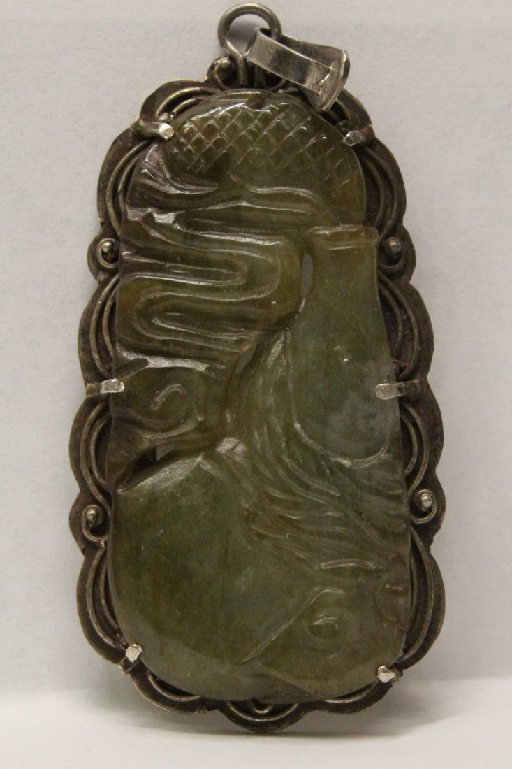 Chinese antique jade carving w/ sterling back & clasp
