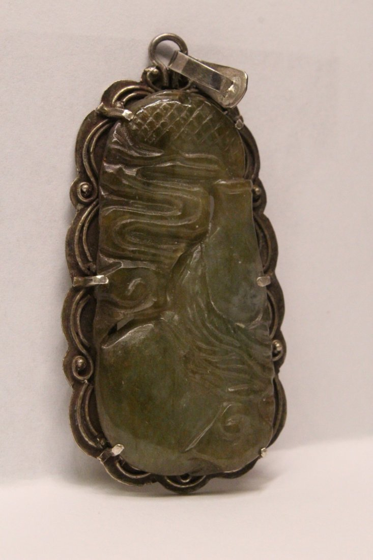 Chinese antique jade carving w/ sterling back & clasp - 5