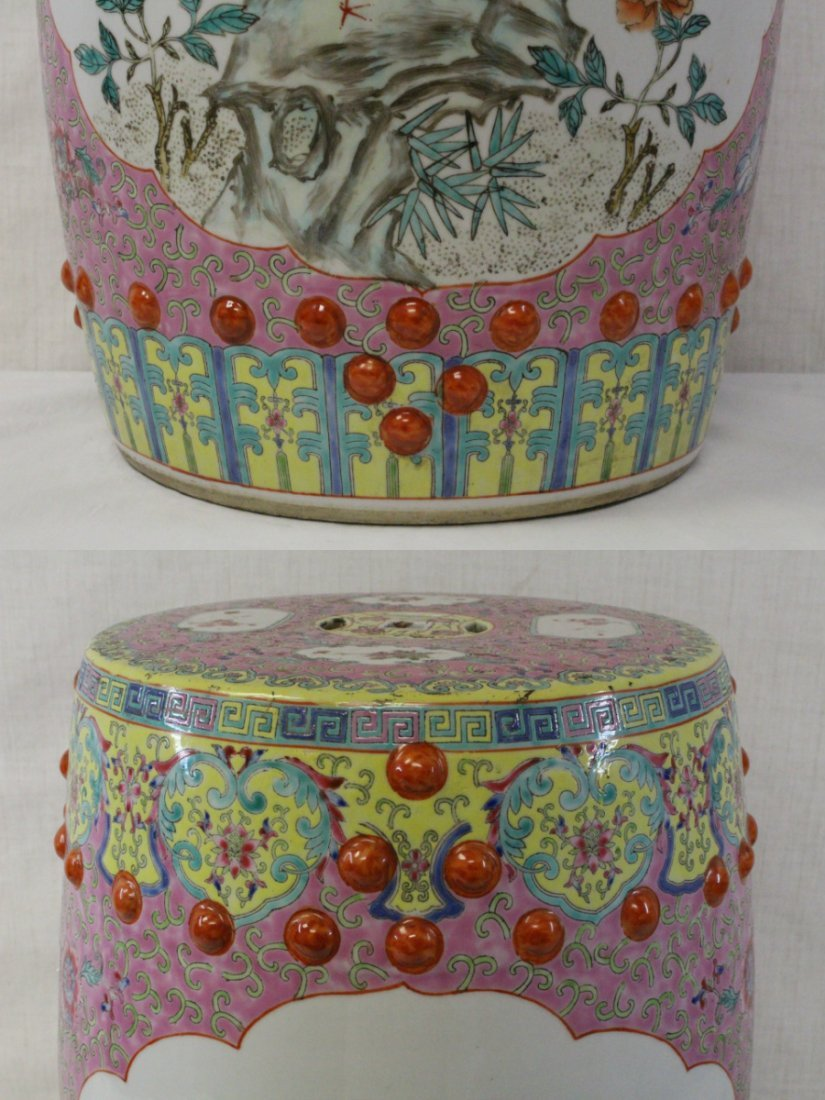 19th/20th c. Chinese famille rose stool - 3