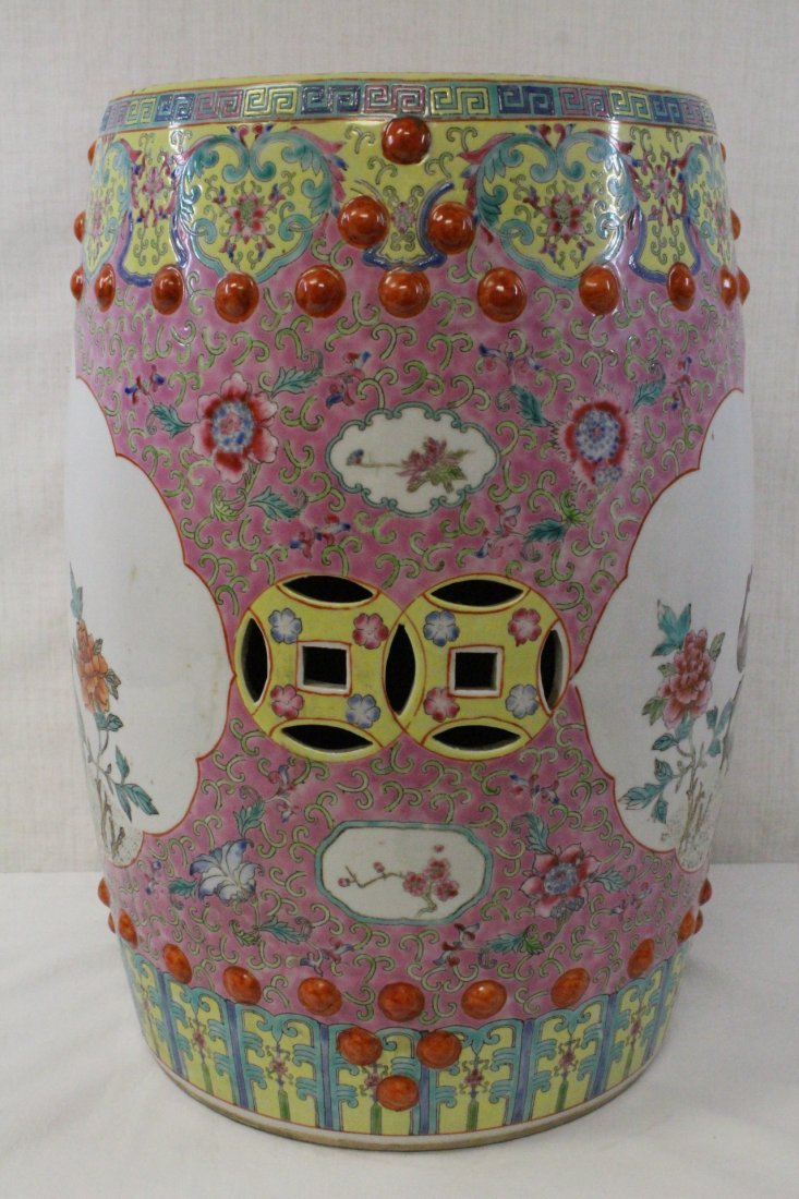 19th/20th c. Chinese famille rose stool - 5