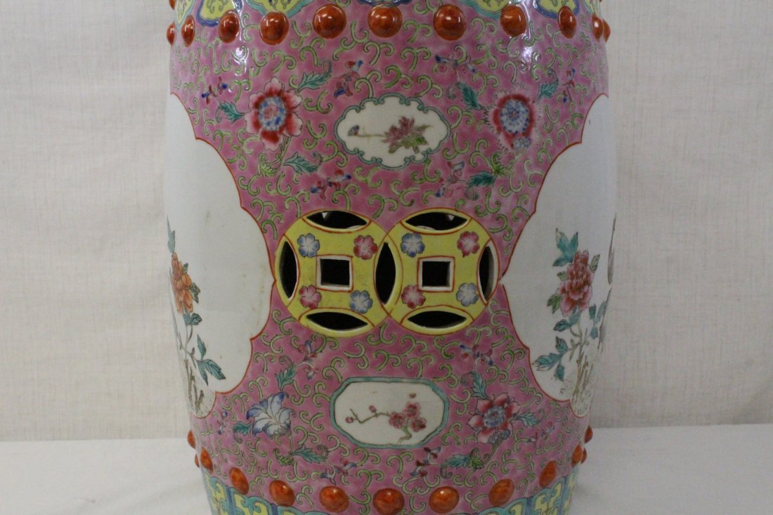 19th/20th c. Chinese famille rose stool - 6